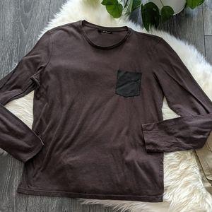 THE KOOPLES - Leather Pocket Long Sleeve Top